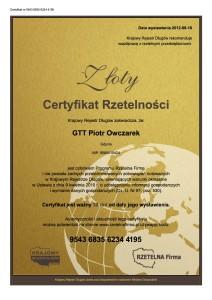 zloty certyfikat